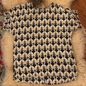 H&M greyhound print black and white blouse